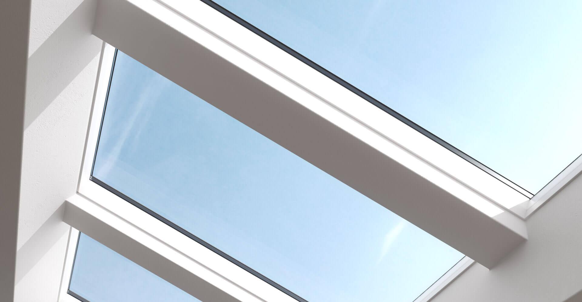 Afbeelding van de dakramen met een witte afwerking