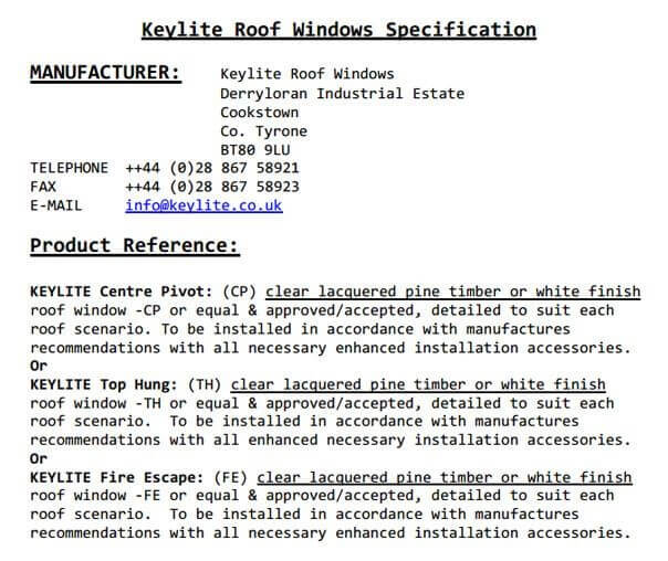 Roof Window Spec